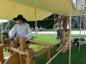 17th century Moxon lathe and Great Wheel being turned at Newstead Abbey 2013