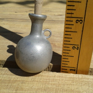Pewter oil bottle for English Civil War and Thirty Years War muskets.